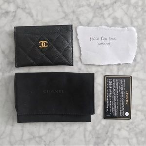 CHANEL Bags - Chanel Black Quilted Caviar Leather CC Card Holder